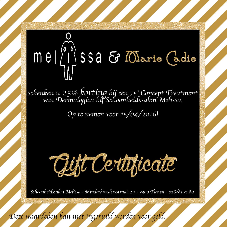 GiftCertificate-schoonheidssalon Melissa MarieCadie